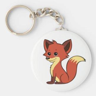 Cute Cartoon Fox White Keychain