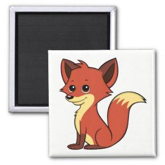Cute Cartoon Fox White Magnet