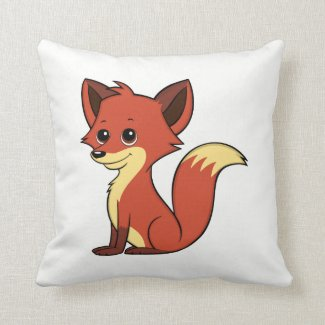 Cute Cartoon Fox White Throw Pillow