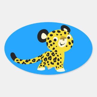 Cute Cartoon Friendly Leopard Oval Sticker
