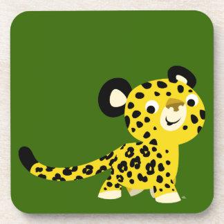 Cute Cartoon Friendly Leopard Set of Coasters