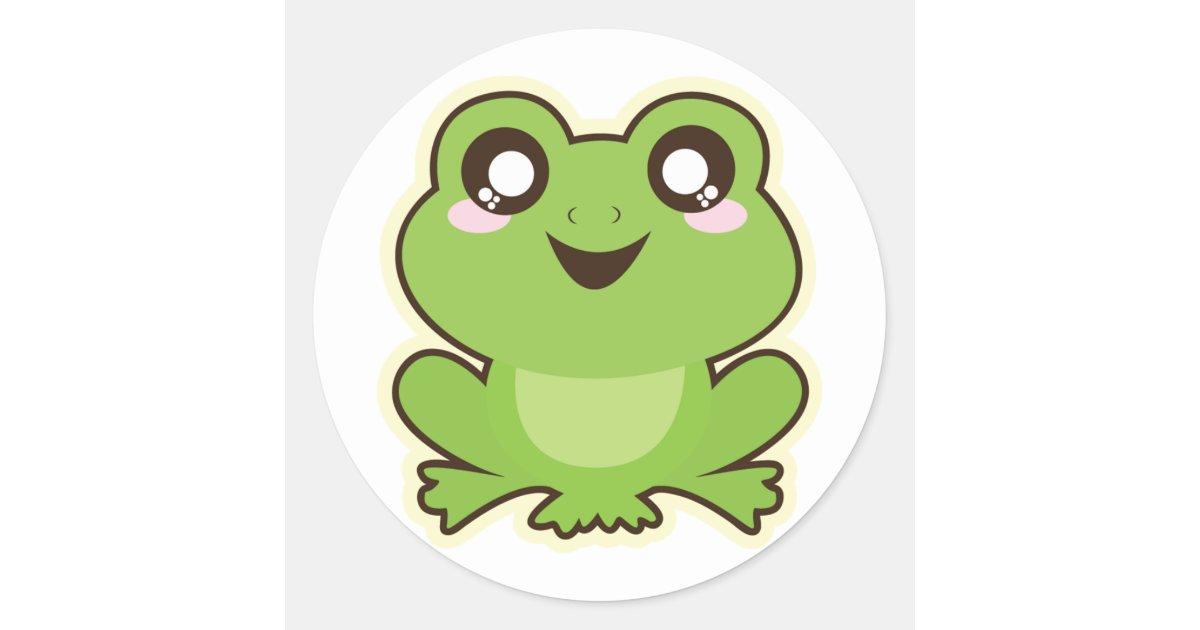 Cute Cartoon Frog Classic Round Sticker | Zazzle.com