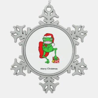 Cute Cartoon Frog Dressed As Santa Snowflake Pewter Christmas Ornament