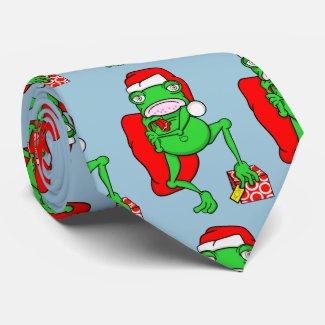 Cute Cartoon Frog Dressed As Santa Tie