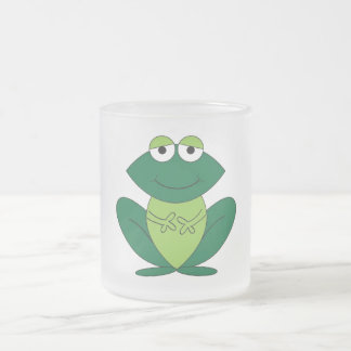 Cute Cartoon Frog Frosted Glass Coffee Mug