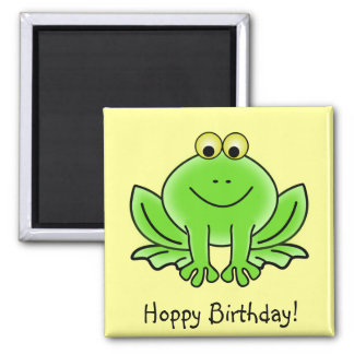 Cute Cartoon Frog Hoppy Birthday Funny Greeting 2 Inch Square Magnet