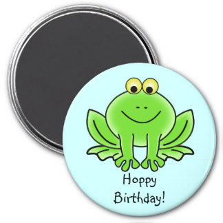 Cute Cartoon Frog Hoppy Birthday Funny Greeting 3 Inch Round Magnet