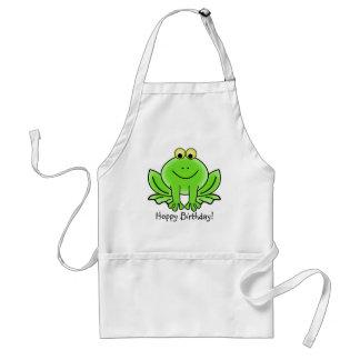 Cute Cartoon Frog Hoppy Birthday Funny Greeting Aprons