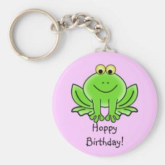 Cute Cartoon Frog Hoppy Birthday Funny Greeting Basic Round Button Keychain