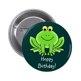 Cute Cartoon Frog Hoppy Birthday Funny Greeting Pins
