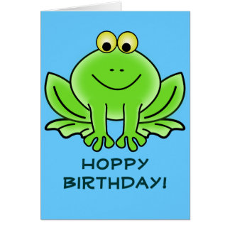 Cartoon frog birthday cards greeting photo cards zazzle cute cartoon frog hoppy birthday funny greeting card bookmarktalkfo Images