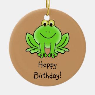 Cute Cartoon Frog Hoppy Birthday Funny Greeting Ceramic Ornament