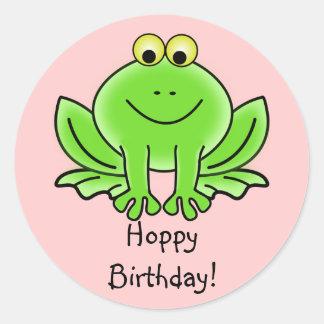 Cute Cartoon Frog Hoppy Birthday Funny Greeting Classic Round Sticker