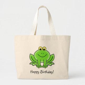 Cute Cartoon Frog Hoppy Birthday Funny Greeting Large Tote Bag