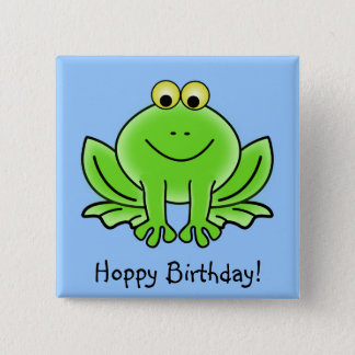 Cute Cartoon Frog Hoppy Birthday Funny Greeting Pinback Button