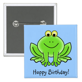 Cute Cartoon Frog Hoppy Birthday Funny Greeting Pinback Button