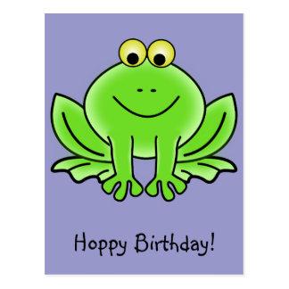 Cute Cartoon Frog Hoppy Birthday Funny Greeting Postcards