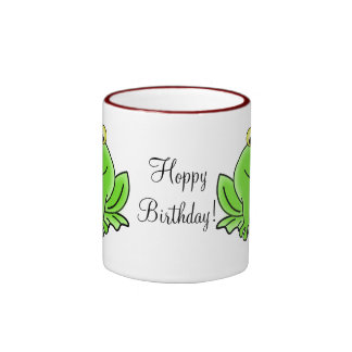 Cute Cartoon Frog Hoppy Birthday Funny Greeting Ringer Mug