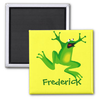 Cute Cartoon Frog Personalized Name Gift 2 Inch Square Magnet