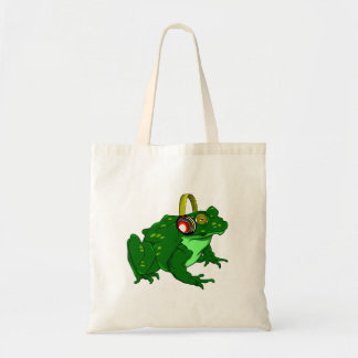 Cute Cartoon Frog Wearing Headphones Tote Bag