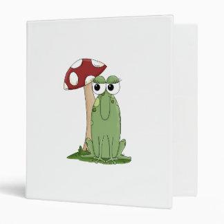 Cute Cartoon Frog With Mushroom Toadstool Design Binders