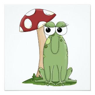 Cute Cartoon Frog With Mushroom Toadstool Design Invitation