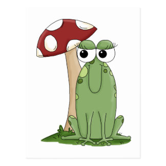 Cute Cartoon Frog With Mushroom Toadstool Design Postcard