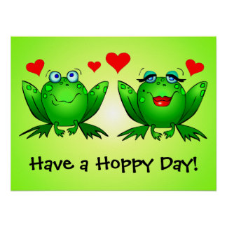 Cute Cartoon Frogs Have a Hoppy Day Green Print