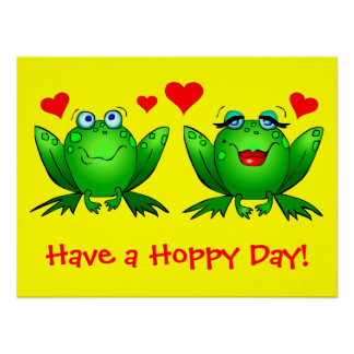 Cute Cartoon Frogs Have a Hoppy Day Yellow Print