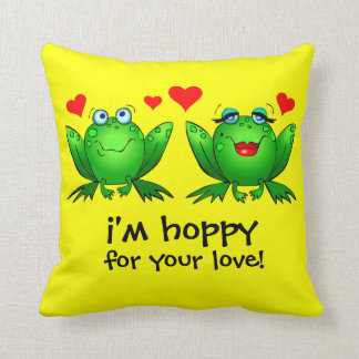 Cute Cartoon Frogs Hearts Throw Pillow