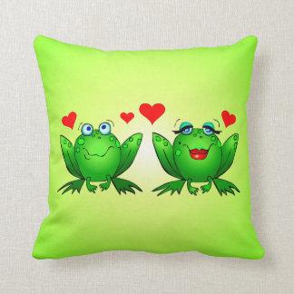 Cute Cartoon Frogs Love Hearts Green Throw Pillow