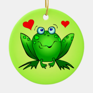 Cute Cartoon Frogs Red Hearts Green Ornament