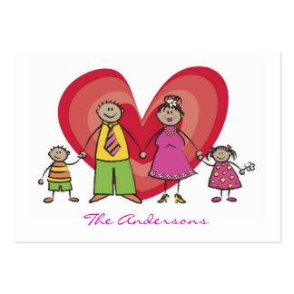 Cute Cartoon Fun Happy Family Contact Calling Card Business Card