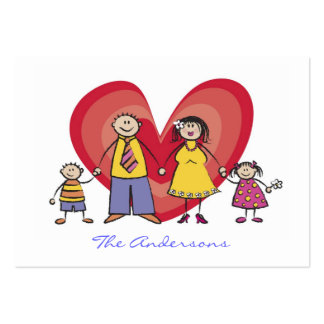 Cute Cartoon Fun Happy Family Contact Calling Card Business Card Template