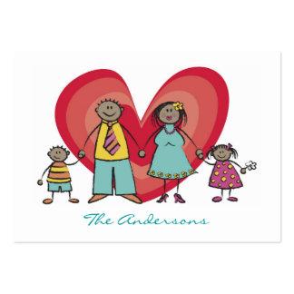 Cute Cartoon Fun Happy Family Contact Calling Card Business Card Templates