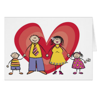 Cute Cartoon Fun Happy Family Love Heart Valentine Greeting Card