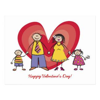 Cute Cartoon Fun Happy Family Love Heart Valentine Postcard