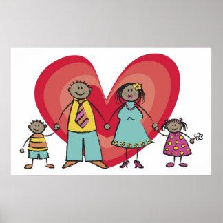 Cute Cartoon Fun Happy Family Love Heart Valentine Poster