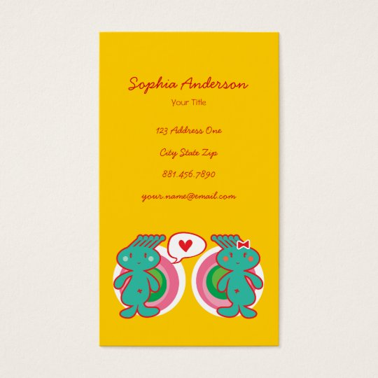 Cute Cartoon Fun Sweet Funny Funky Business Card