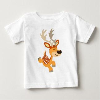 Cute Cartoon Gamboling Fallow Deer Baby T-Shirt