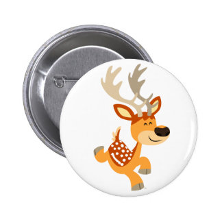 Cute Cartoon Gamboling Fallow Deer Button Badge