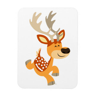 Cute Cartoon Gamboling Fallow Deer Premium Magnet
