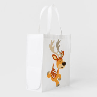 Cute Cartoon Gamboling Fallow Deer Reusable Bag