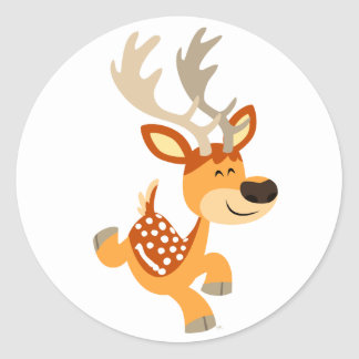 Cute Cartoon Gamboling Fallow Deer Sticker
