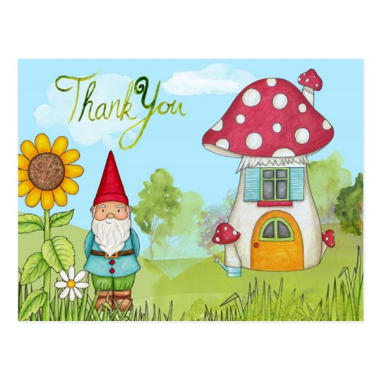 Cute Cartoon Garden Gnome and House Thank You Postcard
