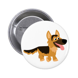 Cute Cartoon German Shepherd Dog Button Badge