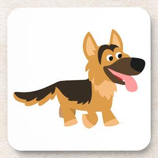 Cute Cartoon German Shepherd Dog Coasters Set