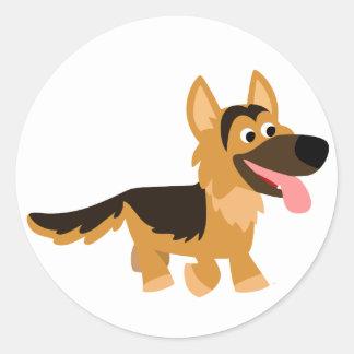 Cute Cartoon German Shepherd Dog Sticker