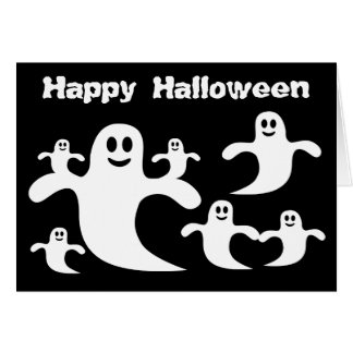 Cute Cartoon Ghosts Black & White Halloween Card