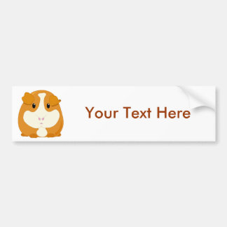 Cute Cartoon Ginger Brown Guinea Pig Bumper Sticker
